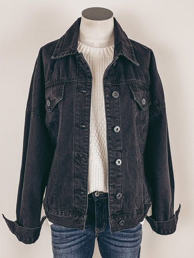 Washed Denim Jacket in Black