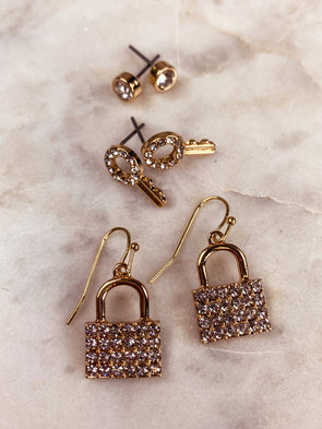 Rhinestone Pave Lock Trio Earrings Set