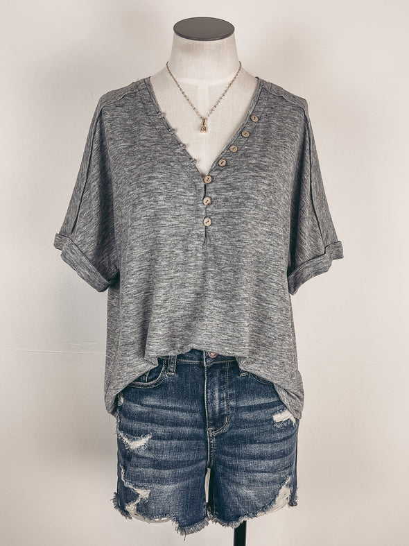 Dotted Button Down Midi Skirt in Black