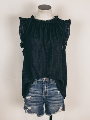 Tiered Ruffle Tie Front Jumpsuit in Black