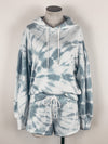 Z Supply Eva Spiral Tie-Dye Hoodie in Blue Agave