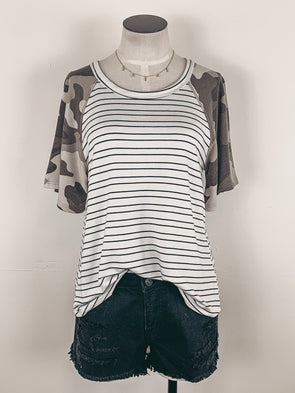 Stripes and Camo Knit Top