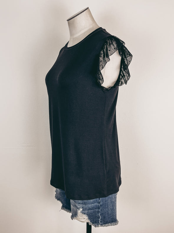 Speckled Tank w/ Dainty Lace Detail in Olive