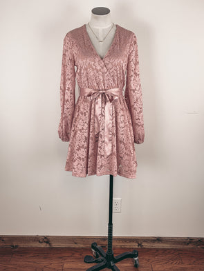 Long Sleeve Lace Dress in Blush