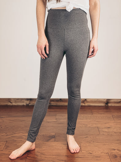 High Rise Pocket Leggings in Heather Grey