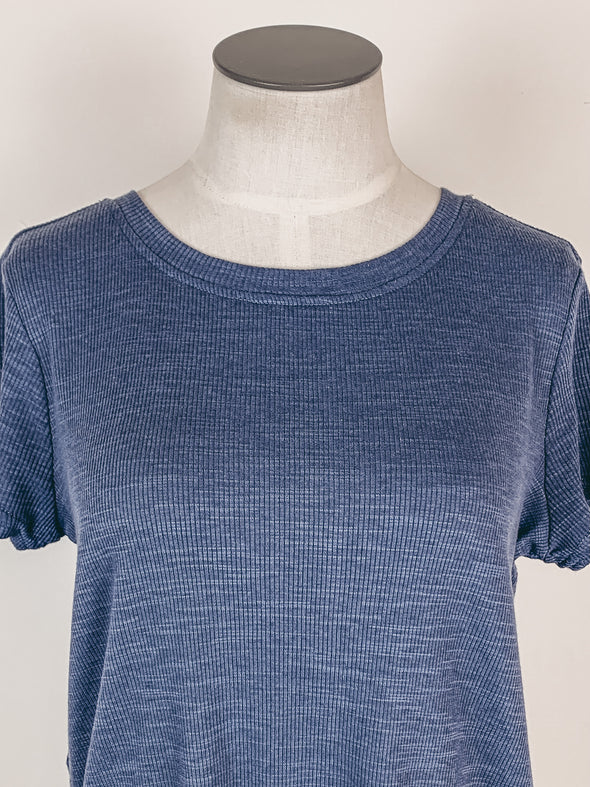 Z Supply Tove Slub Rib Swing Tee in Dusty Navy