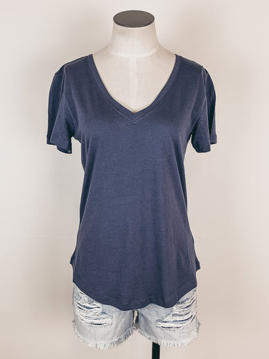 Z Supply Kasey Modal V-Neck Tee in Dusty Navy