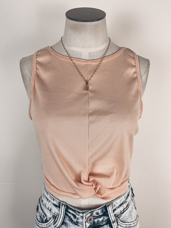 Pleated Ruffle Tank in Peach Coral