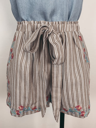 Embroidered and Striped Shorts in Khaki