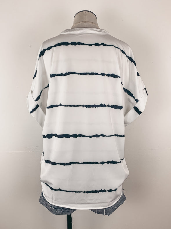 Tie Dyed Striped Button Up Blouse in White/Black