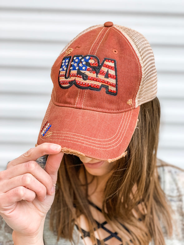 Faded & Distressed USA Hat w/ Bling in Red