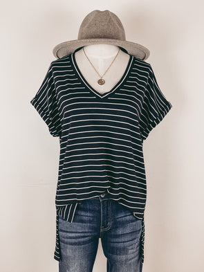 Striped V-Neck Tee in Black