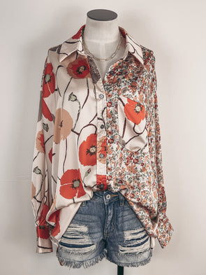 Embroidered Eyelet Ruffle Blouse in Burgundy