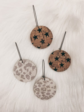 Jones & Lake Printed Cork Circle Earrings