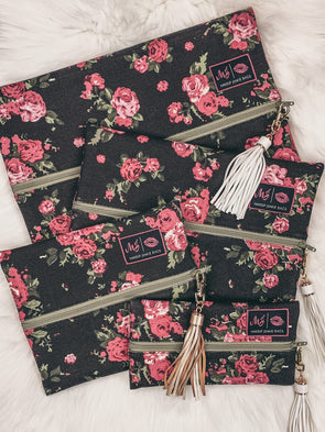Makeup Junkie Bag - Rose Floral