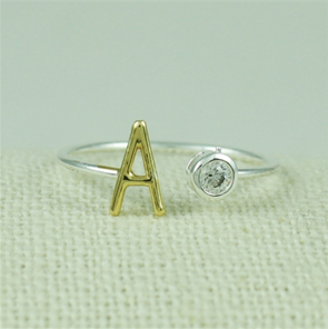Two Tone CZ Initial Ring