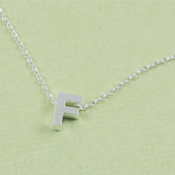 Block Initial Necklace in Silver