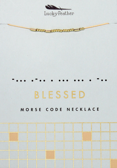 Lucky Feather BLESSED Morse Code Necklace