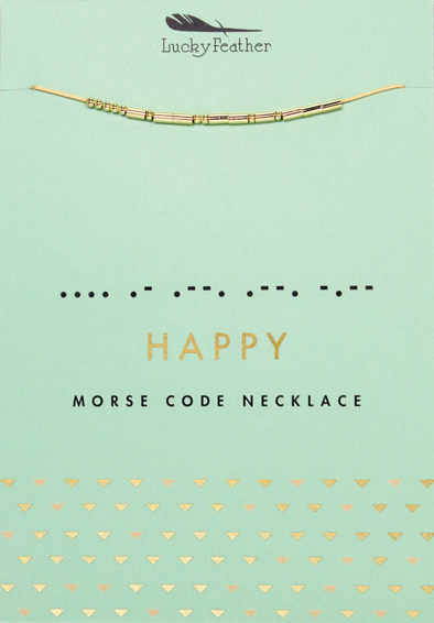Lucky Feather HAPPY Morse Code Necklace