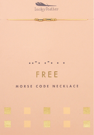 Lucky Feather FREE Morse Code Necklace