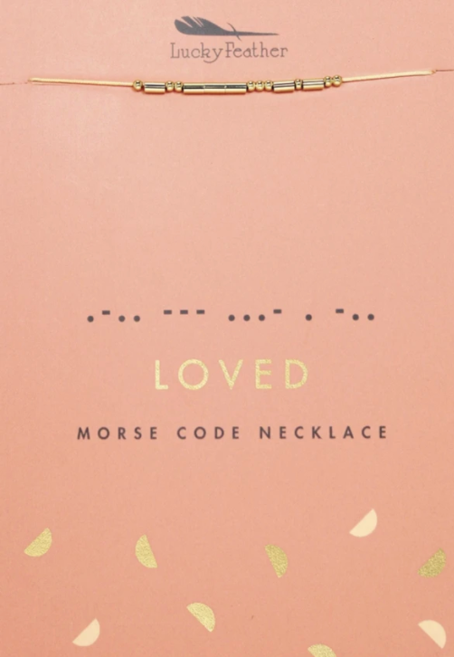 Lucky Feather LOVED Morse Code Necklace