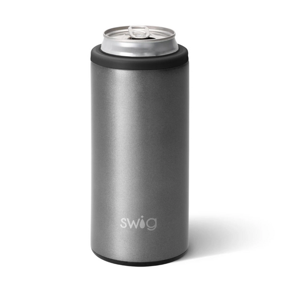 Swig 12oz Skinny Can Cooler in Shimmer Graphite