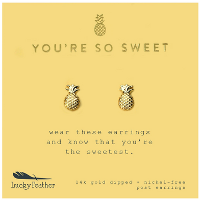 Lucky Feather Pineapple Earrings in Gold
