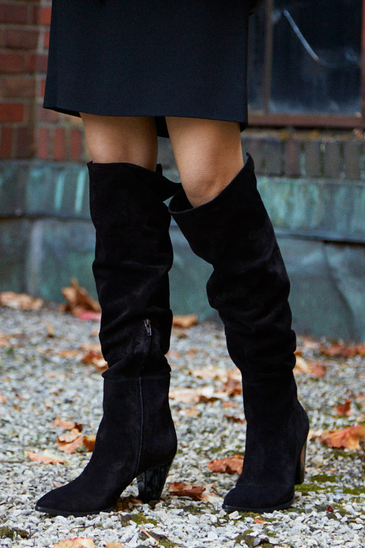 The Frankie Boot in Black Suede
