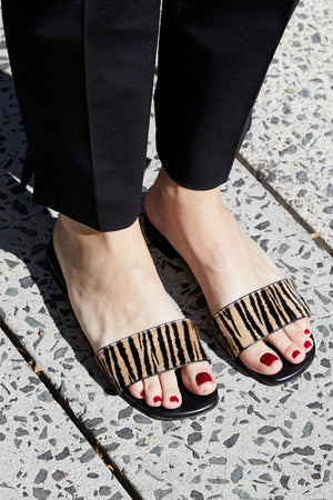 The Coco Slides in Zebra Printed Calf Hair