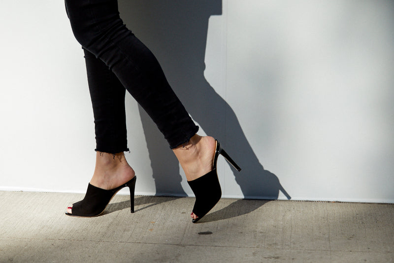 The Alexis Stiletto Mule in Black Suede