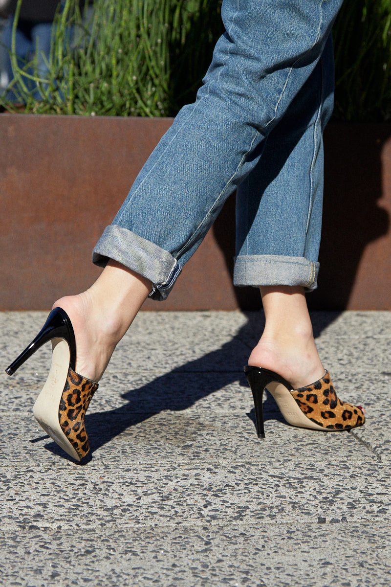 The Alexis Stiletto Mule in Leopard Printed Calf Hair