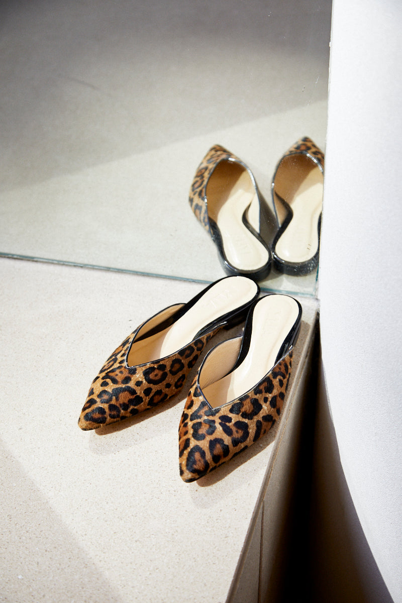 The Nina Slide in Leopard Printed Calf Hair