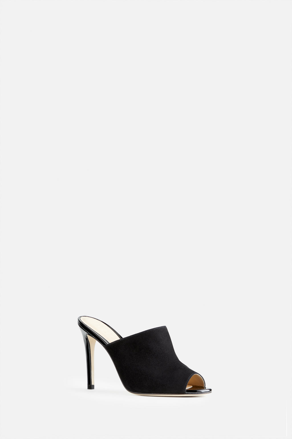 The Alexis Stiletto Mule in Black Suede and Patent Leather