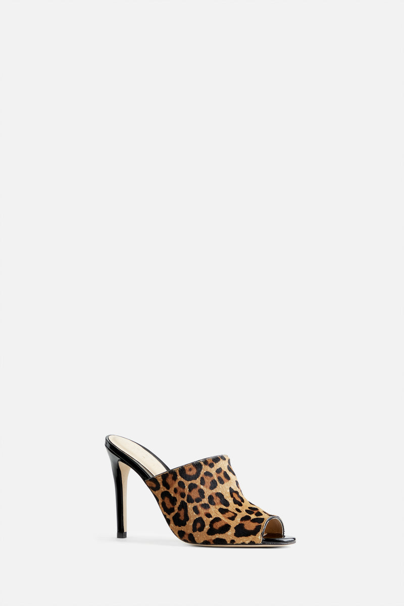 The Alexis Stiletto Mule in Leopard Printed Calf Hair and Patent Leather