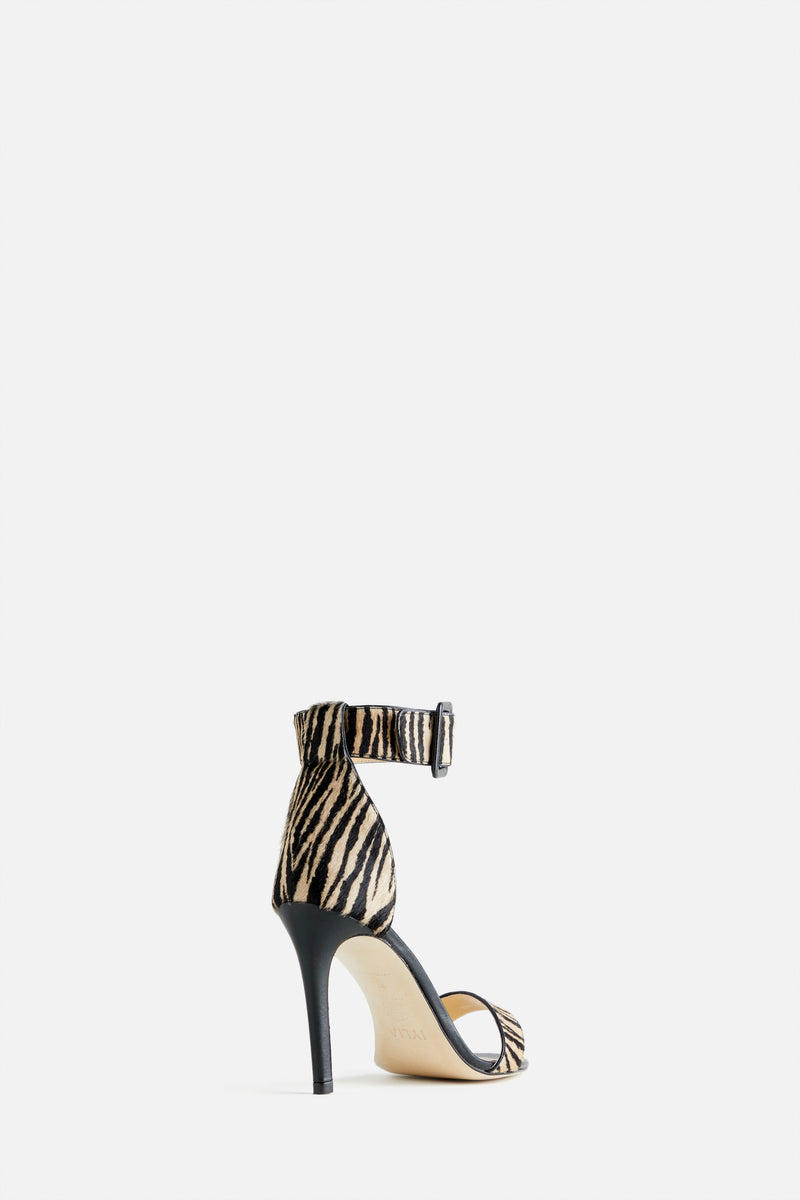 Kelly Stiletto Sandal in Zebra Printed Calf Hair and Black Leather