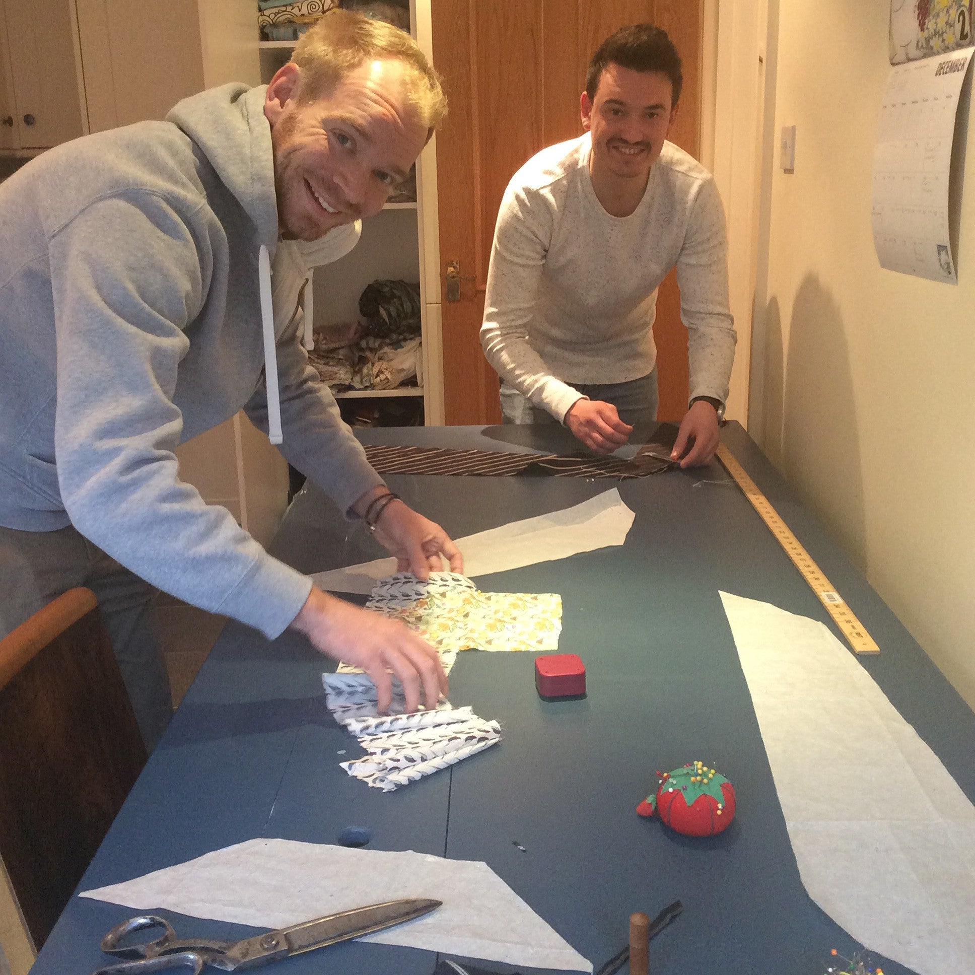 Teaching Alex and Brad from Aurifil how to sew a tie