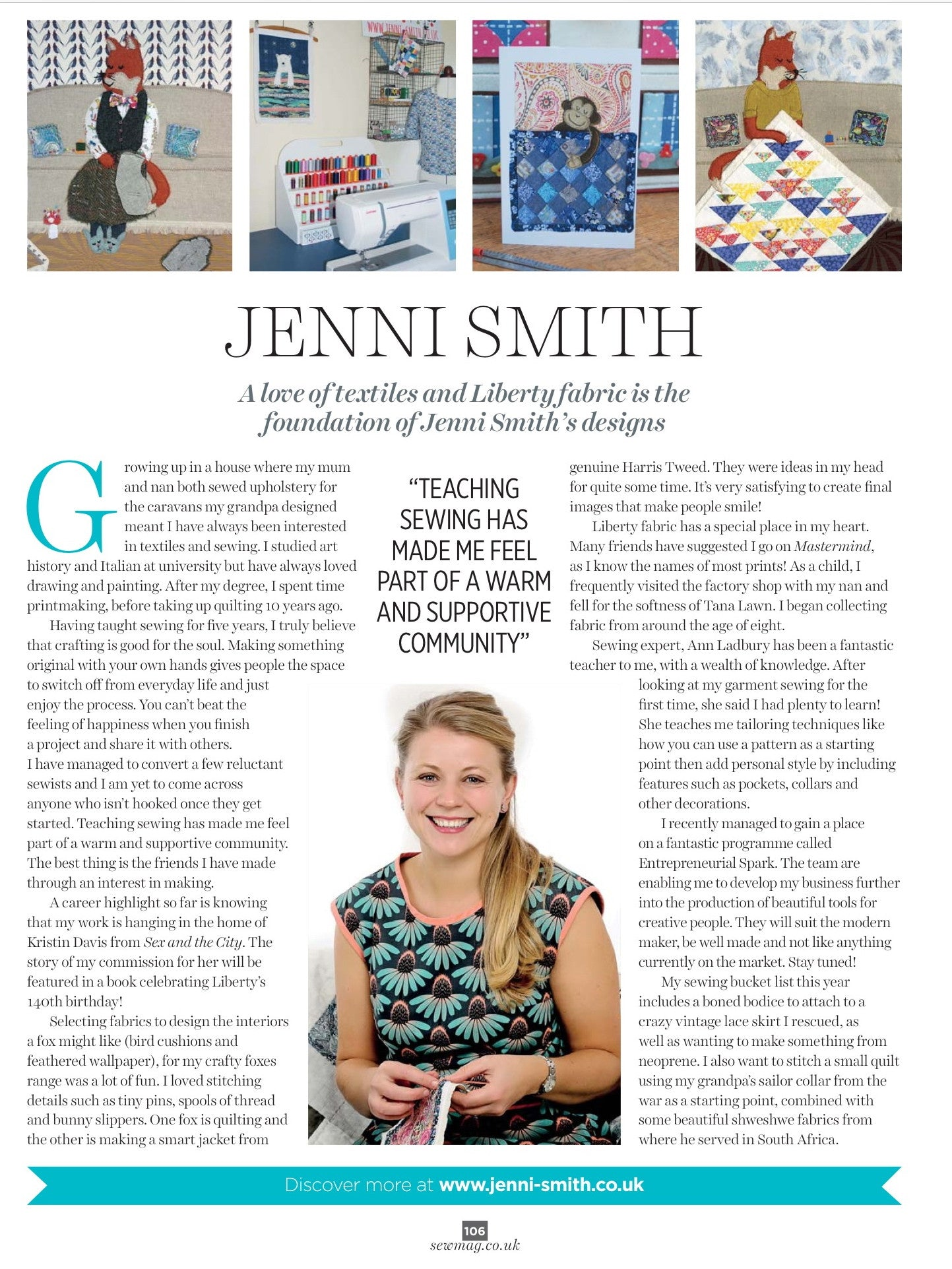 My Interview in Sew Magazine May 2016