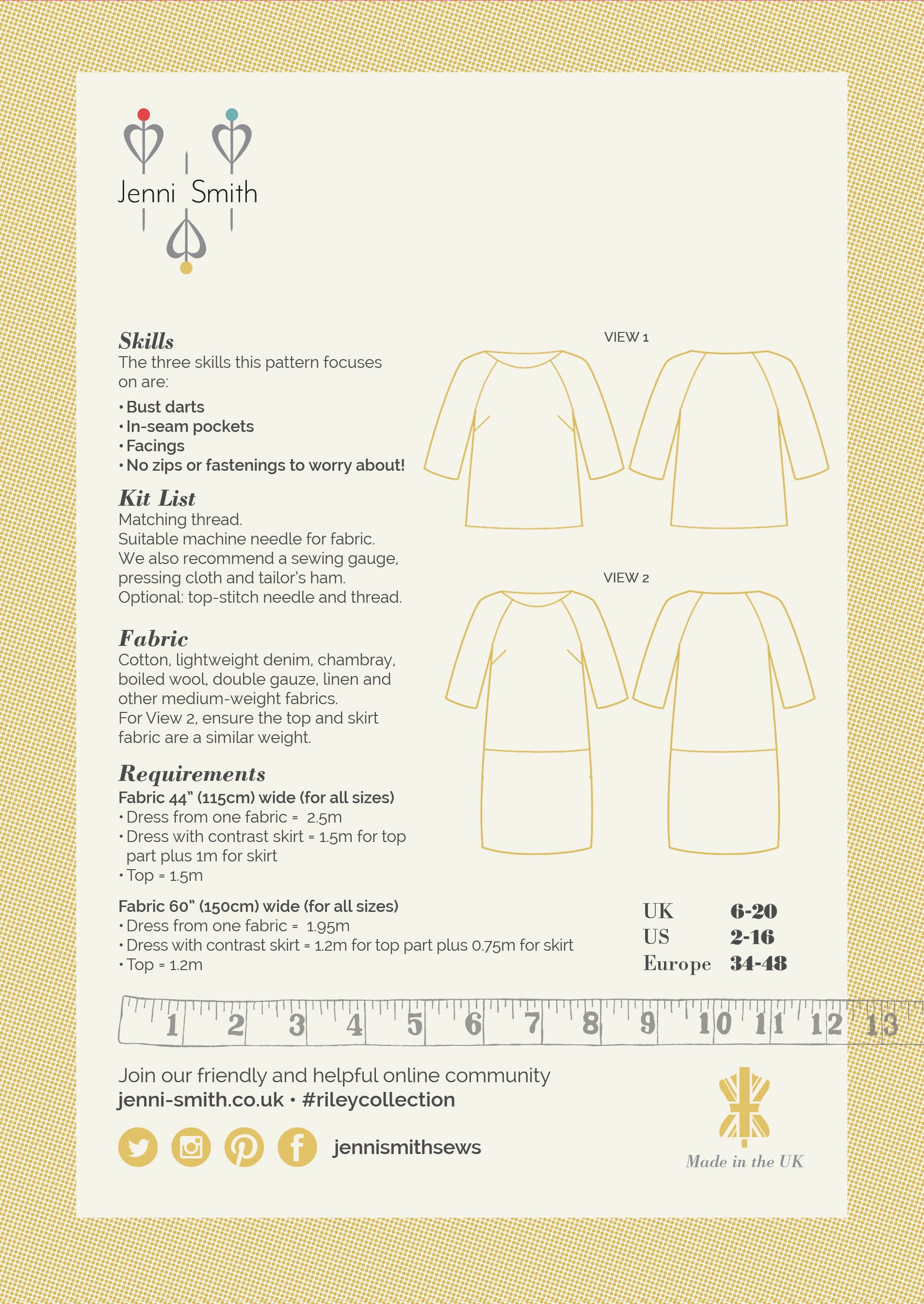 Riley Collection Sewing Pattern PDF - UK Version