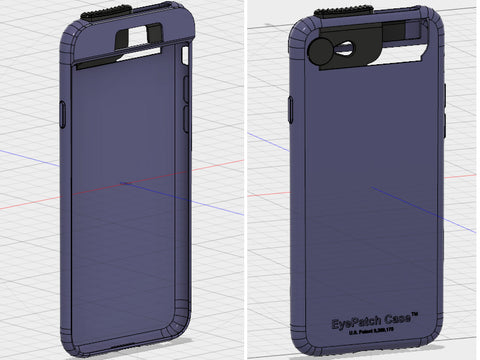 CAD images of the EyePatch Case for iPhone 7 and 8