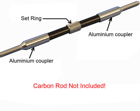 Set - Aluminium coupler for carbon tube Ø 4/M4 right + left + setting ring