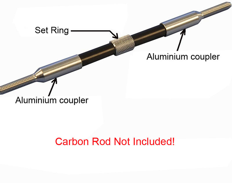 Set - Aluminium coupler for carbon tube Ø 3/M2 right + left + setting ring