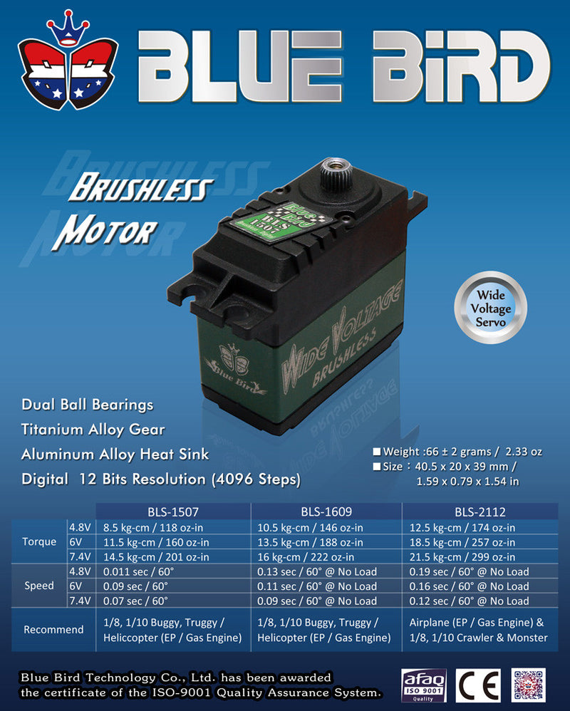 BLS-1609, HV- Digital, High Torque, Brushless, Titanium Gears