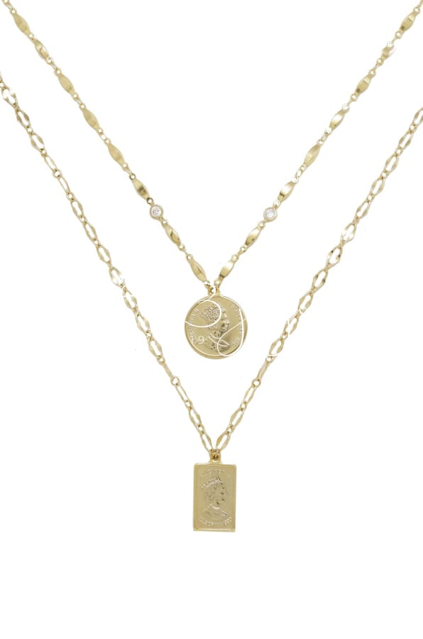 Medallions Of Mine Layered 18Kt Gold Plated Coin Necklaces