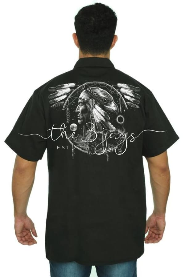 Mens Mechanic Work Shirt Dreamcatcher Native 3Xl / Black T-Shirt