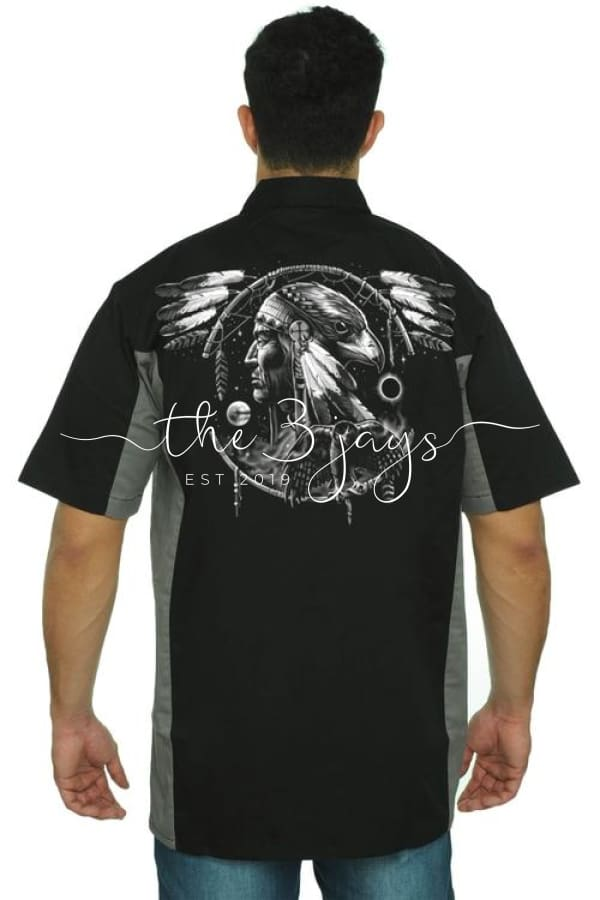 Mens Mechanic Work Shirt Dreamcatcher Native 3Xl / Black/grey T-Shirt