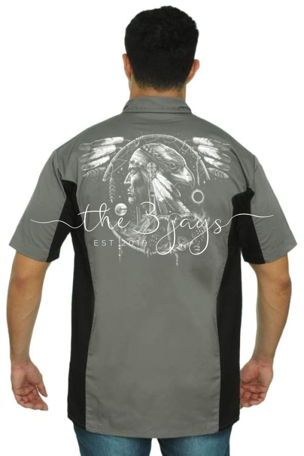 Mens Mechanic Work Shirt Dreamcatcher Native 3Xl / Grey/black T-Shirt