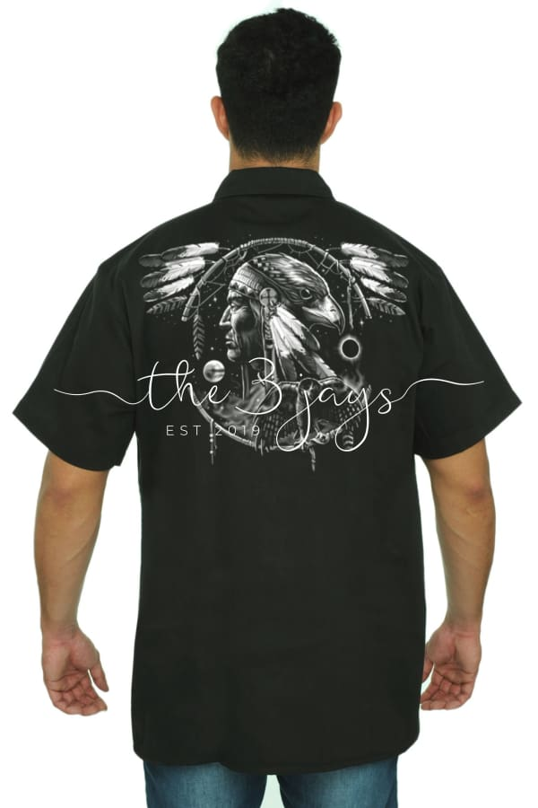 Mens Mechanic Work Shirt Dreamcatcher Native T-Shirt