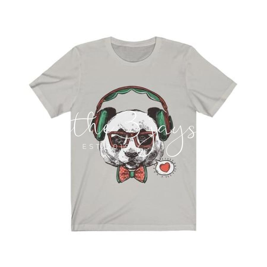 Mr Panda With Headphone Short Sleeve Tee L / Silver T-Shirt