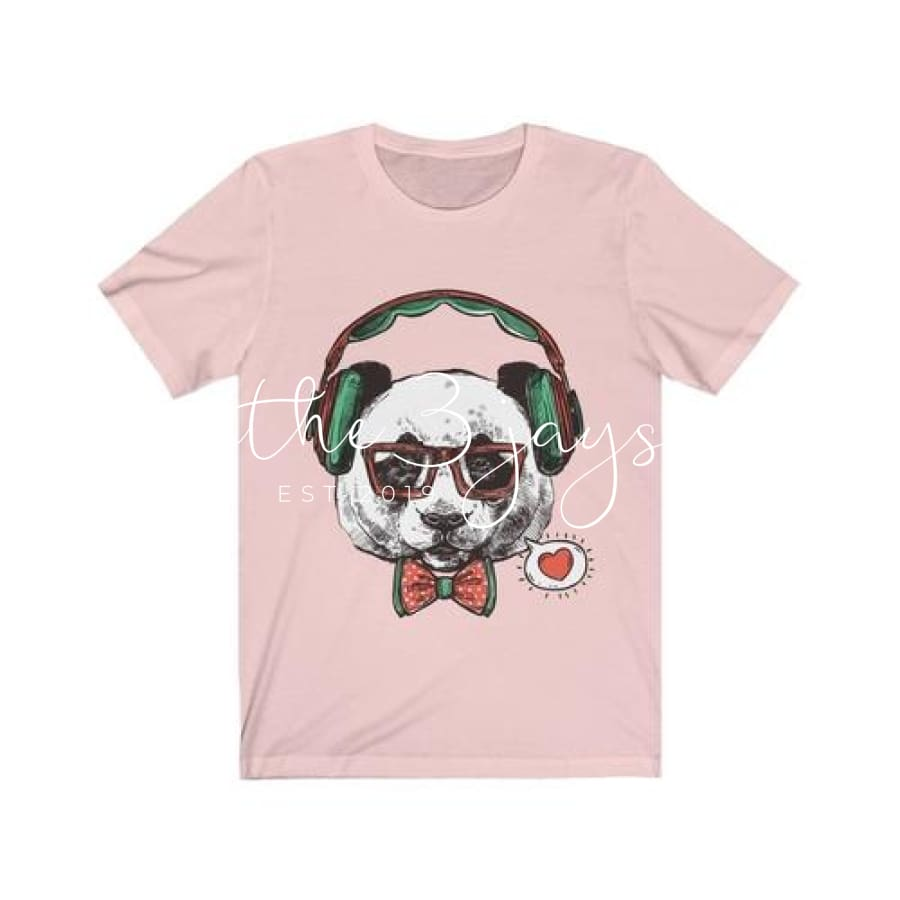 Mr Panda With Headphone Short Sleeve Tee L / Soft Pink T-Shirt
