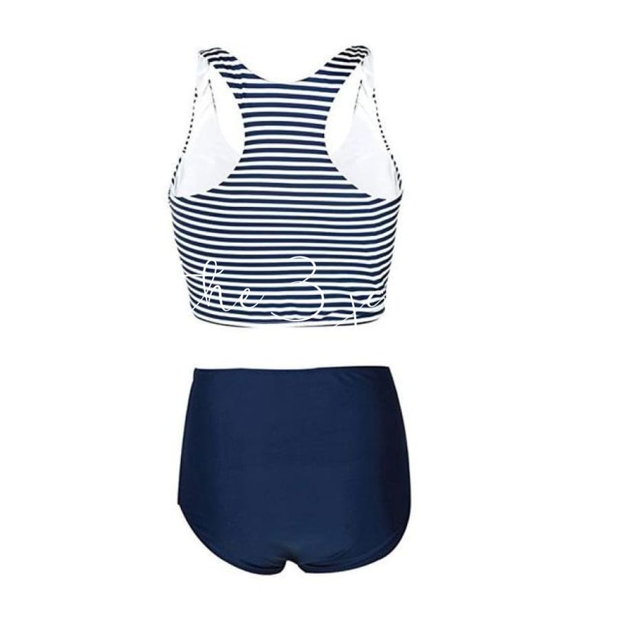 New Bikini Womens High Waist 2 Piece Stripe Swimwear